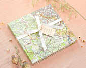Custom map wedding guest book custom made wedding memory scrapbook with a personalised location. Personalised rustic couples wedding book