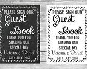 Wedding Please Sign Our Guest Book Chalkboard Personalised Sign Poster A4 (S106)