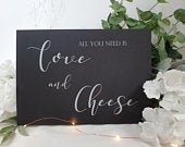 Love and Cheese White Print Script Wedding Sign Chalkboard style A4 black craft brown classic industrial modern simple chalk sweet table