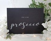 Pimp your Prosecco alcohol Bar White Print Script Wedding Party Sign Chalkboard style A4 black craft brown classic rustic modern chalk