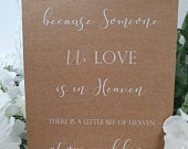 Someone we love is in heaven memory White Print Script Wedding Party Sign Chalkboard style A4 black craft brown classic rustic modern chalk