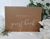 Please sign our guest book White Print Script Wedding Sign Chalkboard style A4 black craft brown classic rustic modern simple chalk