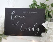 Love and Candy White Print Script Wedding Sign Chalkboard style A4 black craft brown classic industrial modern simple chalk sweets table