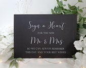 Sign a Heart Guestbook White Print Script Wedding Sign Chalkboard style A4 black craft brown classic industrial modern simple chalk sleek