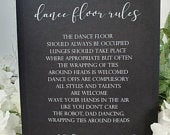 Dance floor rules funny White Print Script Wedding Party Sign Chalkboard style A4 black craft brown classic rustic modern chalk game
