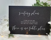 No seating plan table plan White Print Script Wedding Party Sign Chalkboard style A4 black craft brown classic rustic modern chalk