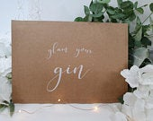 Glam Your Gin alcohol Bar White Print Script Wedding Party Sign Chalkboard style A4 black craft brown classic rustic modern chalk