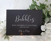Blow Bubbles Good Wishes White Print Script Wedding Sign Chalkboard style A4 black craft brown classic rustic modern simple chalk sleek