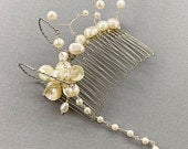 Wedding Hair Comb Decorative Comb Cascading Pearls Genuine Pearl Hair Comb Wire Wrapped Bridesmaid Wedding Hair Accessory