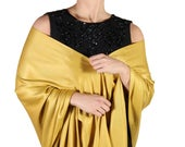 Mustard Pashmina, Wedding Shawl, Scarves for Women, Gold Bridal Wrap, Wedding Favor, Bridesmaids Gift, Ethical Accessories,