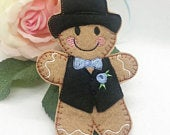 Gingerbread Groom felt hanging ornament with choice of colours bow tie and buttonhole novelty wedding gift or keepsake