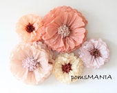 3D colorful decorations Tissue Paper Flowers set of 5 Huge Paper Blooms Baby shower Birthday decorations Backdrop wallpaper
