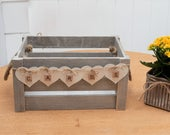 Grey White Wash Shabby Chic Rustic Vintage WEDDING CRATE CARDS Box Lace Floral Bunting