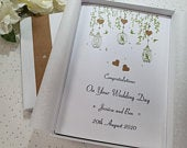 Luxury Rustic Wedding Day Congratulations Card Handmade Personalised boxed or envelope Keepsake Parents Friends daughter son in law