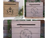 Personalised Rustic Wooden Wedding Card Post Box 2 DESIGNS Vintage Wedding Card Box Card Crate Mail Box
