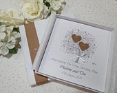Luxury Rustic Wedding Day Congratulations Card Handmade Personalised Box or Envelope Keepsake daughter son in law friends parents sister