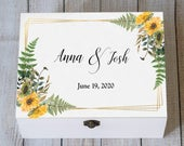 Personalized Wedding Card Box, Sunflowers Keepsake Box, Wedding Card Box, Rustic Card Chest, Custom Card Box, Memory box Wedding Card Holder