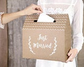 Rustic Wedding Post Box, Just Married Wedding Cards Box, Wedding Supplies, Rustic Wedding Decorations, Kraft and White Script Post Box