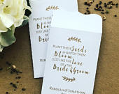 10 In Bloom Wedding Favour White Seed Packet Envelopes Personalised
