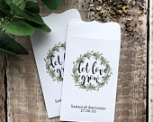 10 White Let Love Grow Double Sided Green Wreath Wedding Favour Seed Packet Envelopes Personalised