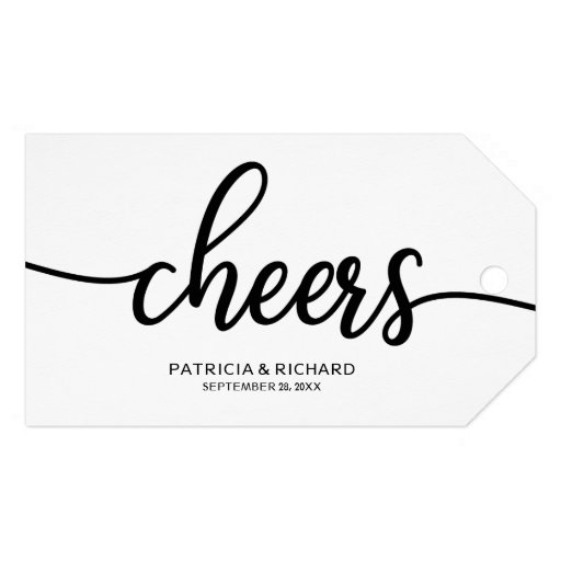 Simple Chic Calligraphy Cheers Wine Bottle Tags
