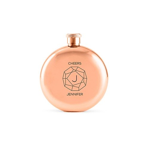Personalized Polished Rose Gold Flask