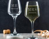 Personalized Wedding Wine Glasses Set Personalised His and Hers Gift Engraved Wine Glasses For Bride and Groom Gifts For Couples