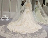 Tulle Wedding Veil with Blusher EmbroideryWhite Bridal VeilTulle VeilLong VeilWhite Wedding Veil comb Cathedral White Wedding Veil