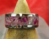 Gents Stainless Steel Ring Crushed Genuine Natural Tourmaline Inlay