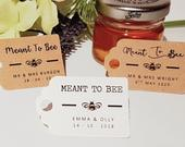 Custom Meant to BEE Theme Wedding Favour Tags Honey Bees MINI Price Luggage Label Personal