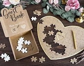 Jigsaw Puzzle Guest Book Alternative, Wedding GuestBook, Hen Party Bridal Guestbook, Baby Shower Wishing Jar, Copper Lid and Wooden Hearts