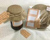 Jam jar Lid covers BURLAP includes twine bands labels TAGS x 12