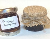 50 X jam Wedding favour BURLAP lid top covers twine/bands/labels X 50. 3 sizes avalible
