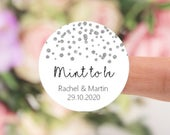 Mint to Be Personalised with Silver Confetti Design, Wedding Favour Label Stickers