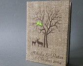 Wedding rustic photo album burlap Linen Bridal shower anniversary Green Cardinals on the Tree