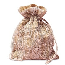 Ivory Lace Burlap Bags - 5 X 6-1/2 - Fabric Bags by Paper Mart
