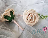 10 X Artificial colourfast Rose Single Wedding Guest Buttonholes Groom Best Man Usher Father of The Bride Ribbon many colours
