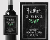 Personalised Father of the Bride Wine label Custom Wedding Favour/Gift/Thank you Personalized wedding marble ideas/Bride/Groom/Maid of honor