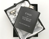 Personalised engraved FATHER of the BRIDE hip flask WEDDING gift idea, black coated stainless steel presentation box RET5
