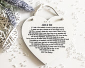 Personalised Parents of The Bride Heart, Wedding Thank you Plaque, Mother and Father of The Bride Gift from Bride, Decorated Wall Plaque FA3