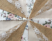 Fabric Hessian Lace Bunting StoneHandmade Wedding Shabby Chic from 10ft 40ft