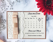Save the Date or Change the Date Rose Gold and Lace Card with Rose Gold Ribbon and Magnet.
