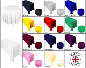 Seamless Tablecloth POLYESTER TABLE COVER Banquet Wedding Party Durable Cloth White Black Ivory