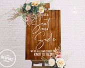 Pick a seat not a side // Wedding Sign // Printed or Digital