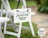 Printable Reserved Seat Sign for Wedding, This Row is Reserved Sign Wedding, PreFilled Reserved Chair Sign Template, Instant Download A1