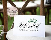 EDITABLE RESERVED Seat Sign for Wedding, Printable Reserved Sign Wedding, Reserved Row Calligraphy, Chair Sign Template, Instant Download A1