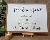 Pick a Seat Wedding Party Sign A4 with wooden heart white ivory craft brown Rustic Vintage Barn Garden Boho theme decorative script print