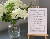 White Personalised Wedding Sign Unframed Pick a Seat Not a Side