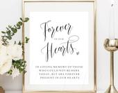 Forever in our hearts sign, printable, memory sign, in loving memory, wedding sign, in memory of, we know you would be here today PPSB41