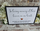 In Loving Memory Heaven Wedding Sign A4 black and white with 3D metallic card heart copper silver gold Rustic Script Industrial barn modern